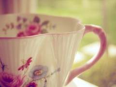 teacup (kameron elisabeth) Tags: pink flowers windows light sun sunlight flower macro green cup window nature grass leaves yellow vintage book focus colorful soft afternoon purple tea bokeh blossoms gimp naturallight indoor flare daisy teacups dreamy simple windowsill finepixs100fs softdreamyandethereal