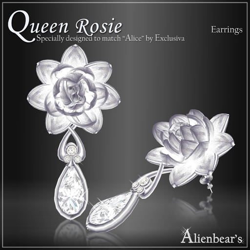 Queen Rosie earrings white