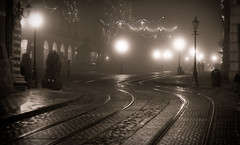 / snakes (stepex) Tags: railroad wet sepia night train 50mm evening snake lviv ukraine lamps   rynok