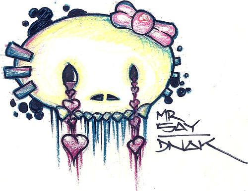 Tattoo sketch 1 of 3 for my friend Myranda She wanted a grungy skull