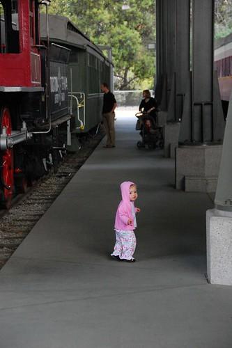 Big trains, little girl