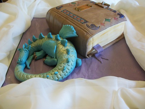 Fairytales book and dragon cake