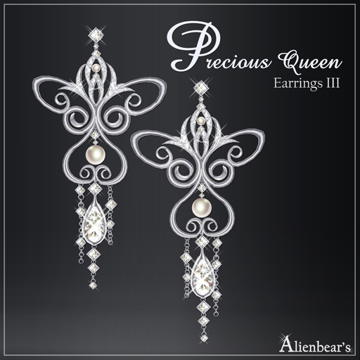 Precious Queen Earrings III white