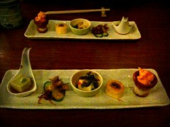 Zensai (five kinds of appetisers of the day), Omakase course, Chiharu