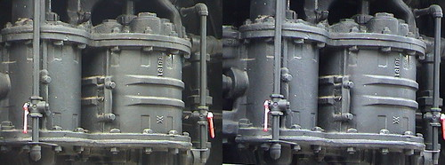 3D, Westinghouse air compressor on Southern Pacific locomotive No. #1273 at Travel Town, Griffith Park, Los Angeles, California, dsc00017, 2010.03.21, 16:31