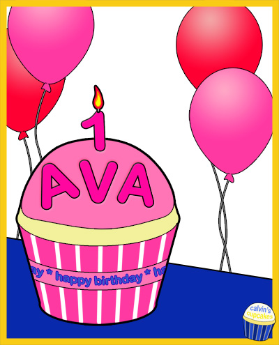 Ava's 1st Birthday Cupcake