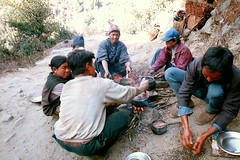 Local people cooking breakfast.