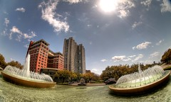 Mecom Fountain and ZaZa Fisheye HDR (J-a-x) Tags: city sky usa water fountain texas houston fisheye mecomfountain peleng museumdistrict zaza pelengfisheye