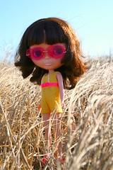 piper (cybermelli) Tags: ocean pink art beach water sunglasses yellow vintage glasses doll surf heart board attack pansy skipper shore surfboard fancy blythe onepiece swimsuit ebl