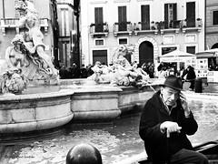 ... (pino ientile) Tags: portrait people bw man rome roma blackwhite bn piazzanavona ritratto calabria biancoenero martone blackwhitephotos