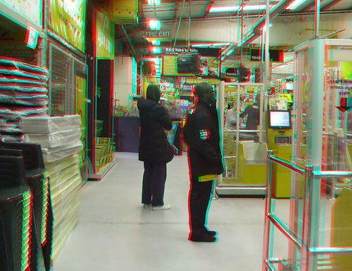 3D anaglyph  Photo, Watching the checkouts