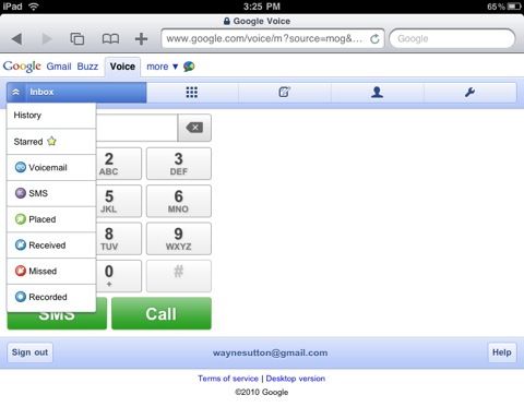 Google Voice on the iPad