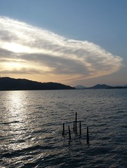 Sweeping cloud at sunset (janeslondon) Tags: ocean sunset sea sky cloud water turkey bay march dusk 2010 fethiye gndz carhit