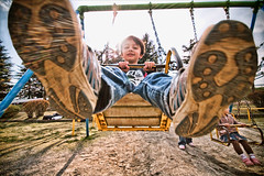 Kamera Kicker (TheJbot) Tags: park family kids children shoes swings wide explore lensflare flare sigma1020mm