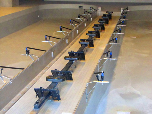 The center spine of the Indoor Rowing Tank where athletes sit and train