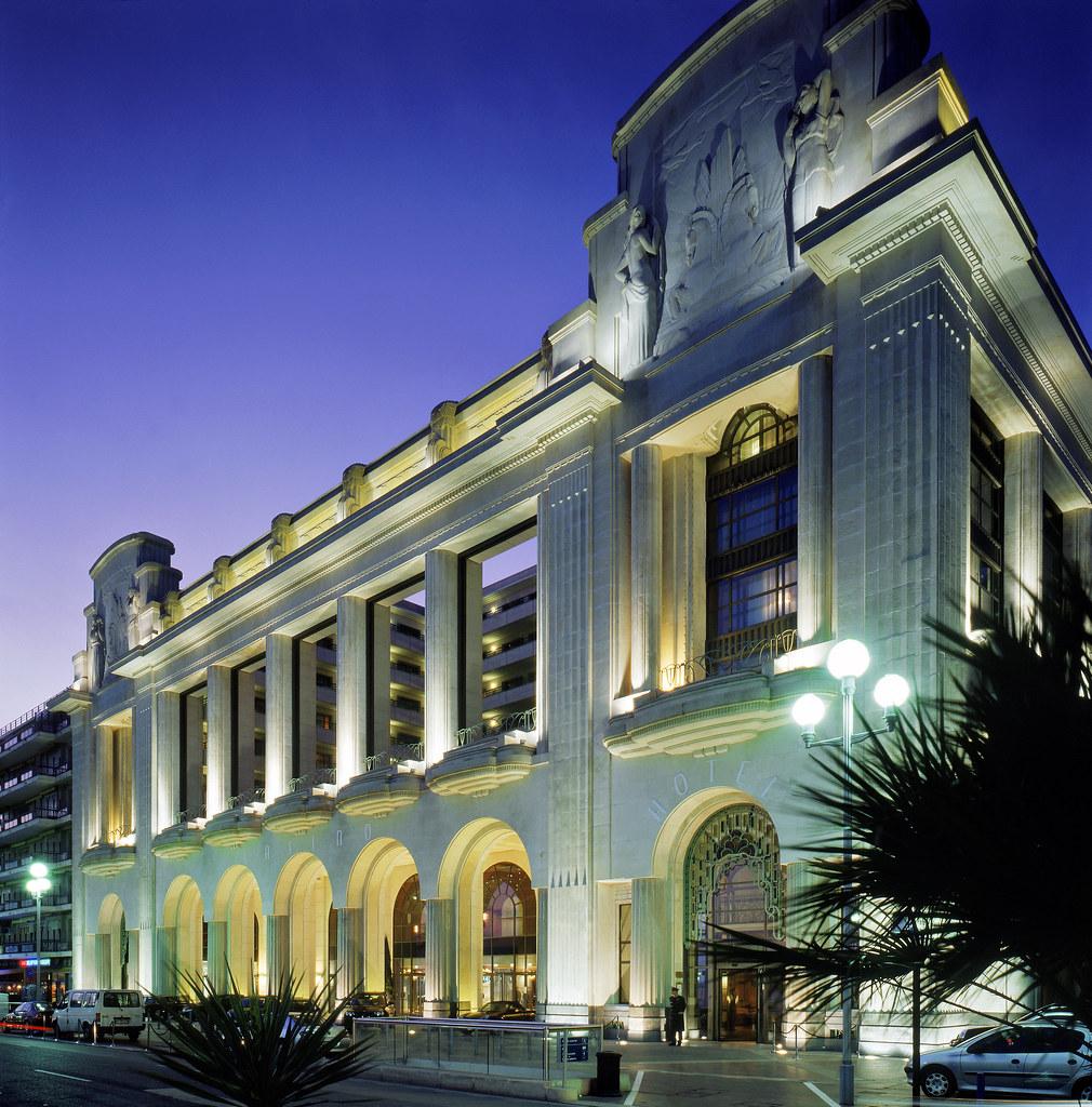 White Facade by Night of Casino Hotel Palais de la Mediterranee Nice , France