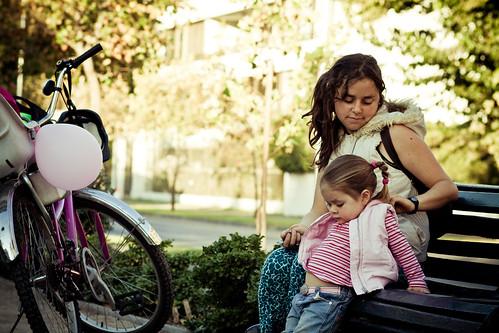 Compartiendo y disfrutando la ciudad con su hija