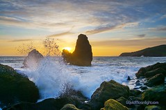Sea Stack Splash - Rodeo Beach California (Darvin Atkeson) Tags: ocean california sunset sea usa beach nature america landscape golden coast us seaside gate rocks surf waves pacific marin coastal area headlands rodeo recreation  rodeobeach   darvin atkeson  darv   liquidmoonlightcom