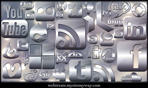 154 SImple Glossy Silver Social Media Ic by webtreats, on Flickr