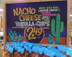 Nacho'lly Great Chips (misterbigidea) Tags: cactus art sign cheese chalk corn artist desert display chips traderjoes chip snacks zesty organic joes chalkboard dip tortilla nacho cheddar trader traderjoe stoneground notdoritos
