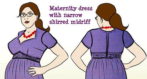 Vogue 9668 Purple Maternity Dress Alteration Sketch Detail