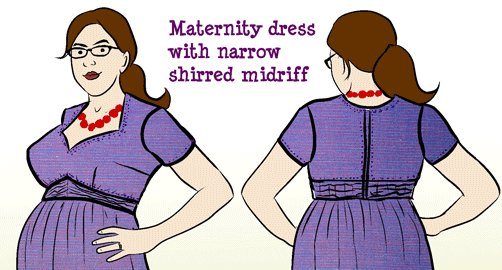 Vogue 9668 Purple Maternity Dress Alteration Sketch Detail