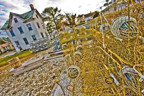 These are crab pots, used by Chesapeake watermen to catch blue crabs in the spring and summer months.