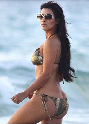 Kim Kardashian in bikini at Miami beach