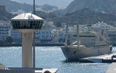 Mutrah Harbour (Gerry Hill) Tags: cruise tower port harbor boat persian ship gulf harbour transport vessel coastal oman muscat seas brilliance imo logistics supply fulk mutrah alsalamah 8509026