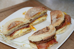 Sausage, bacon, egg and cheese muffins (Rainier Beer 12oz) Tags: food english breakfast muffins bacon egg sausage eggs muffin breakfest
