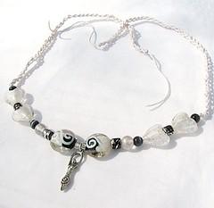 Black and white hemp necklace - Ice Goddess