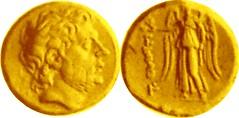 548/1 Titus Quinctius Flamininus Victory standing T QVINCTI Stater 195BC earliest Roman portrait coin