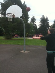 Shooting some hoops at Bella Vista Park