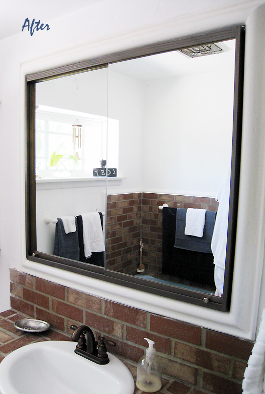 vintage copper-effect vanity mirrors after