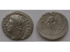 Augustus denarius: Signis Receptis (Baltimore Bob) Tags: old mars money rome silver persian coin ancient roman persia empire imperial augustus parthian denarius parthia