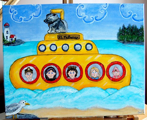 Hot off the easel...yellow submarine again