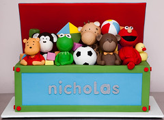 Toy Box for Nicholas (Rouvelee's Creations) Tags: bear kite cake monkey elmo pooh christening winniethepooh giraffe soccerball beachball toybox rubberduckie buildingblocks kermitthefrog
