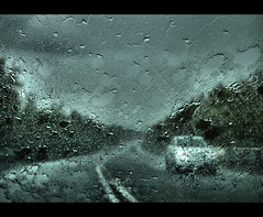01..  rain storm (lovestruck.) Tags: road sky fall window wet car rain weather drops journey windscreen splashes bigmomma ex