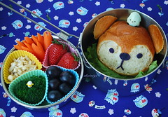 Raccoon Char Siu Bao Bento (sherimiya ) Tags: school cute fruits face bread lunch kid sheri strawberries broccoli grapes kawaii bento carrots raccoon obento enoki quailegg charsiubao kireizukinseikatsu sherimiya