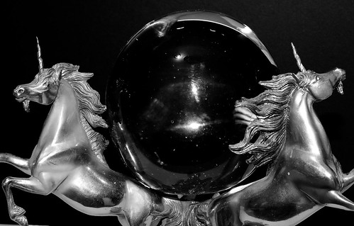 Unicorns and Crystal Ball In Black and White