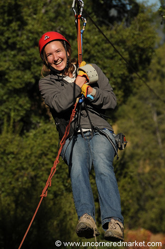 Audrey on a zipline at La Montana winery in Maipo Alto, Chile