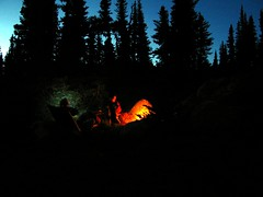 Bivy Fire (Dru!) Tags: blue autumn trees light red camp sky canada black mountains fall silhouette fire evening bc darkness dusk britishcolumbia meadow campfire alpine goldbridge coastmountains bralorne stemalot cadwalladerrange cadwallader jmace