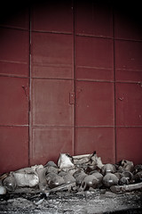 light shades & red door (Zak Ezzati) Tags: urban abandoned broken canon lights doors decay croatia explore forgotten urbanexploration bulbs disused exploration derelict urbex 500d ezzati zakezzati