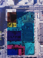 The parcel was originally split between six owners: Metro (light blue), Clark Trust (pink), HJT (dark blue), Shilling Trust (purple), KITRO (yellow) and the Taft Building (brown).