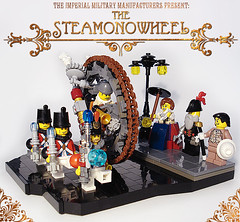 Steamonowheel (captainsmog) Tags: road mars lady umbrella streetlight gun lego mechanical general streetlamp robe military victorian machine gear steam parade weapon driver vignette gentleman diorama martian blaster phaser rivet ste