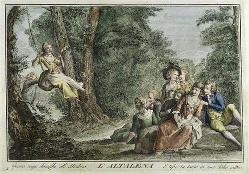 002-El columpio- Giuochi Trattenimenti e Feste Annue Che si Costumano in Toscana 1790- Giuseppe Piattoli