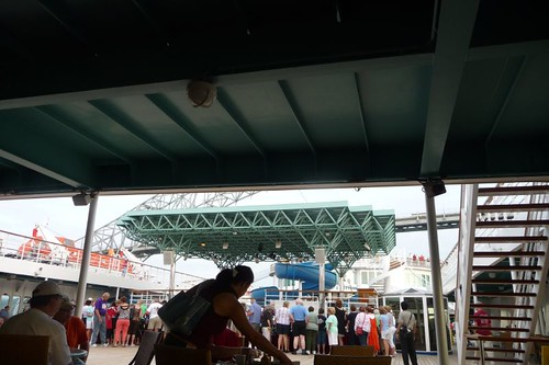 Many people shopping on Lido deck