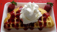 Strawberry Waffles with Ice Cream