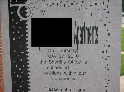 On Thursday, May 27, 2010 the Sheriff's Office is scheduled for evictions within our Community [on a classic Word template with trumpets and confetti]