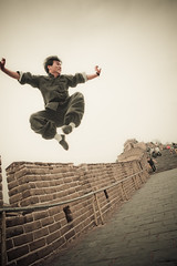 Geeks On A Plane resident Tai Chi & Kung Fu master on great wall of China